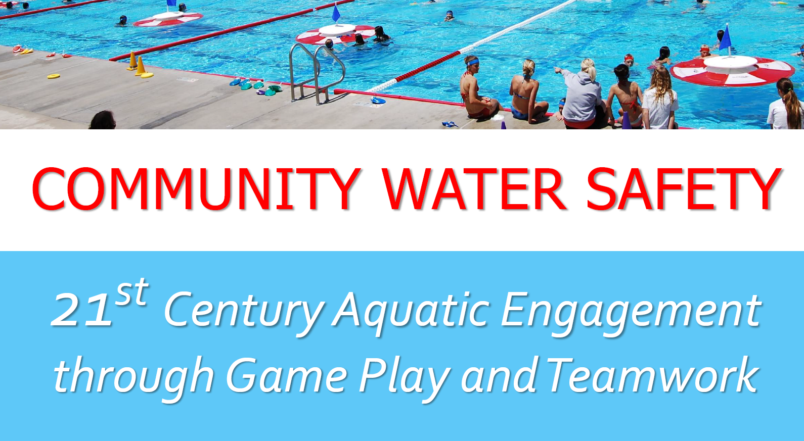 First slide and title: Community Water Safety -- 21st Centery Aquatic Engagement through Game Play and Teamwork