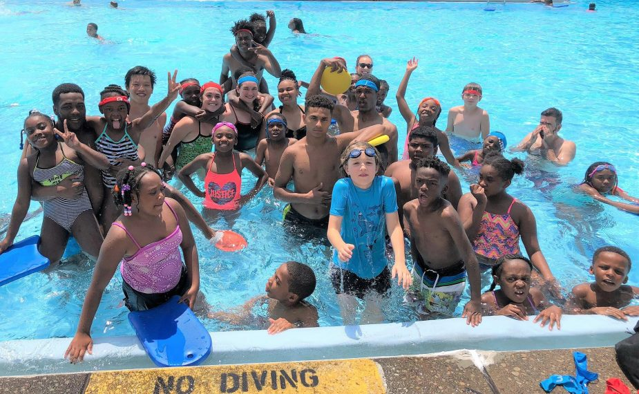 Swim pool at Riverview Park in Pittsburgh with SKWIM and fun with Coach Mark and camp kids from The Pittsburgh Project